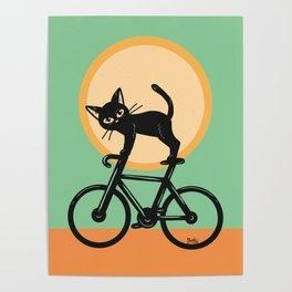 Cat loves a bike Poster