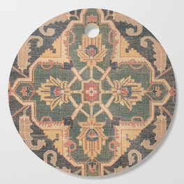 Geometric Leaves VI // 18th Century Distressed Red Blue Green Colorful Ornate Accent Rug Pattern Cutting Board