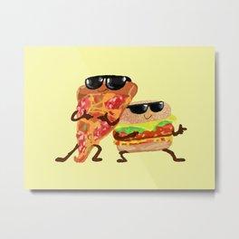 Burgers and Pizzerman Metal Print
