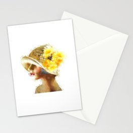 Retro Woman in Vintage Hat Stationery Cards