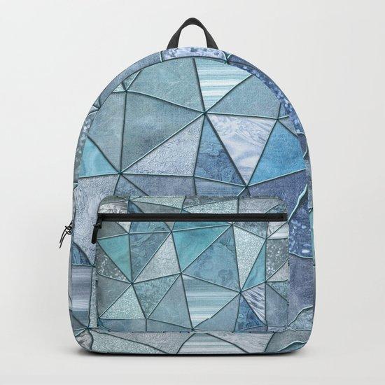 Blue Aqua Glamour Shiny Precious Patchwork Backpack