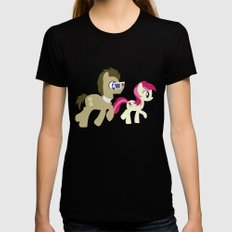 Doctor Whooves & Rose Black Womens Fitted Tee SMALL