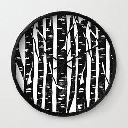 Woodcut Birches Black Wall Clock