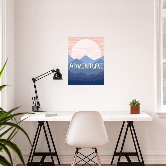 Adventure Sunset Vector Landscape Poster