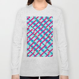 geometric pixel square pattern abstract background in blue pink Long Sleeve T-shirt