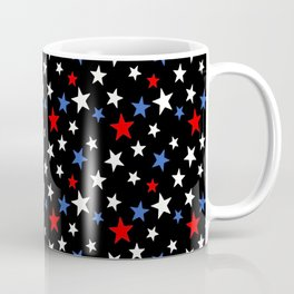 Bold Patriotic Stars In Red White and Blue on Black Coffee Mug
