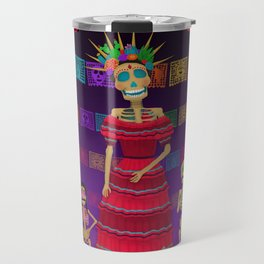 Purple Ómbre Day of the Dead Travel Mug