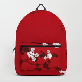 White Oriental Cherry Blossoms on Red and Chinese Wedding Double Happiness Backpack