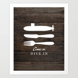 Come On, Dive In - Wood Version Art Print