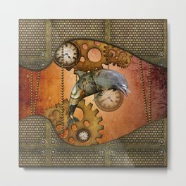 Steampunk, awesom steampunk dolphin Metal Print