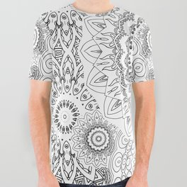 MOONCHILD MANDALA BLACK AND WHITE All Over Graphic Tee