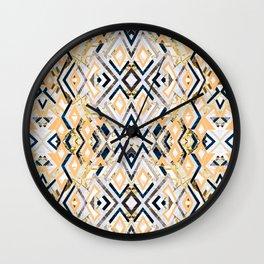 3dimensional marbled geometry pattern I Wall Clock