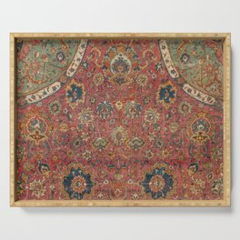 Persian Medallion Rug IV // 16th Century Distressed Red Green Blue Flowery Colorful Ornate Pattern Serving Tray