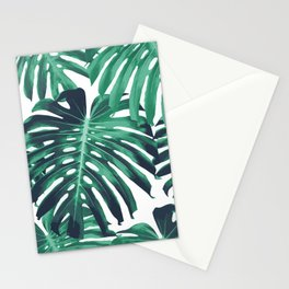 Green tropical leaves Stationery Cards