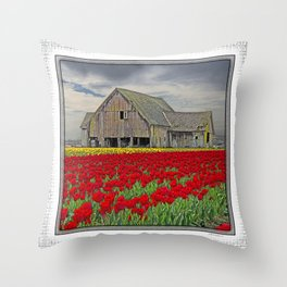 RED TULIPS AND BARN SKAGIT FLATS Throw Pillow