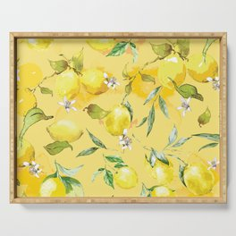 Watercolor lemons 5 Serving Tray