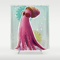 dexter Shower Curtains featuring Dexter by Federica Amico