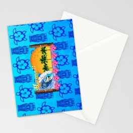 Hawaiian Surfing And Tiki Pattern Stationery Cards