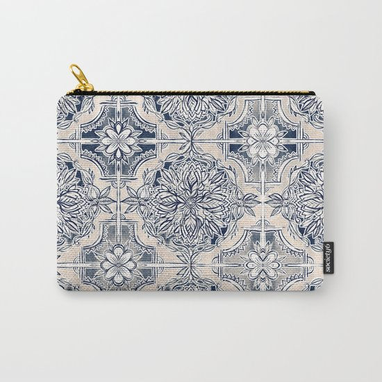 Brush and Ink Watercolor Pattern in Indigo and Cream Carry-All Pouch