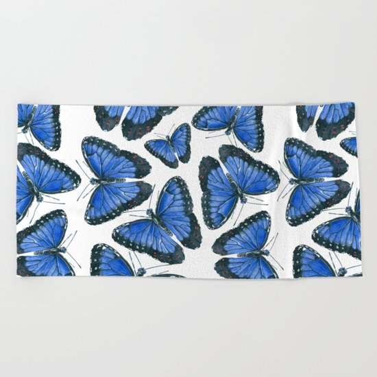 Blue morpho butterfly pattern design Beach Towel