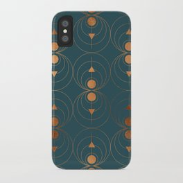 Copper Art Deco on Emerald iPhone Case