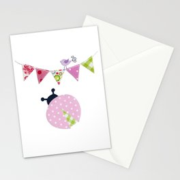 Ladybug with party flags Stationery Cards