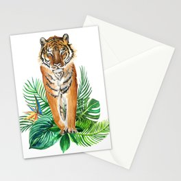 watercolor illustration of a tropical laves and Tiger Stationery Cards