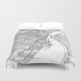 Montreal White Map Duvet Cover