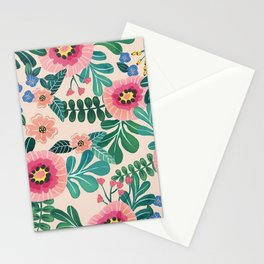 Colorful Tropical Vintage Flowers Abstract Stationery Cards
