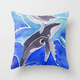 Polynesian humpback whale and calf Throw Pillow