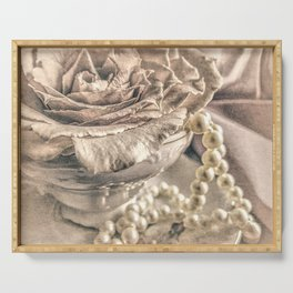 Roses Tea Pearls Still Life Modern Cottage Modern Country A431 Serving Tray
