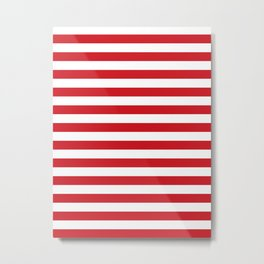 Narrow Horizontal Stripes - White and Fire Engine Red Metal Print