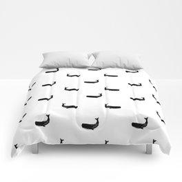 Whale sperm whale ocean life black and white linocut minimal art pattern Comforters