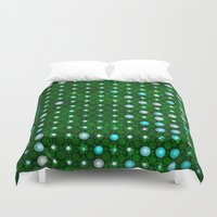 led zeppelin Duvet Covers featuring led green by Fringed violet