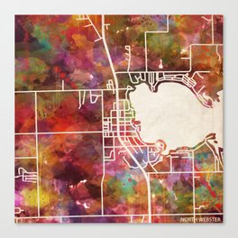 North Webster map Canvas Print