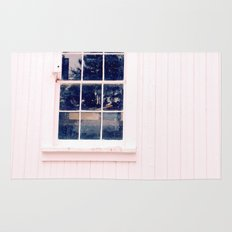 White Barn Window Rug