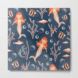 Mermaids Underwater Kids Pattern Metal Print