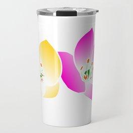 pink yellow flower, blossom, summer, spring, nature Travel Mug
