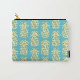 Mid Century Modern Pineapple Pattern Blue and Yellow Carry-All Pouch