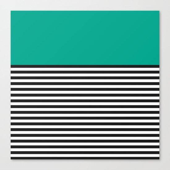 STRIPE COLORBLOCK {EMERALD GREEN} Canvas Print