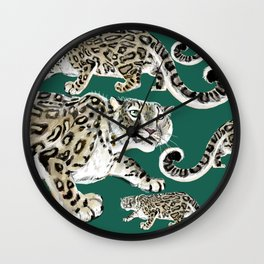 Snow leopard in green Wall Clock
