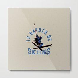 Ski Club crossed skis drawing for ski lovers Metal Print