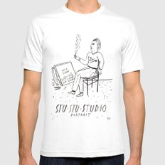 Stu-Stu-Studio White Mens Fitted Tee MEDIUM