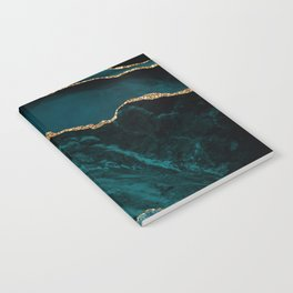 Teal Blue Emerald Marble Landscapes Notebook