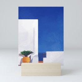 Beyond the White Wall - Santorini, Greece - Minimal Travel Print - Romantic Coastal Vibes Mini Art Print