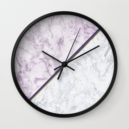 Lavender white faux gold abstract geometric marble Wall Clock