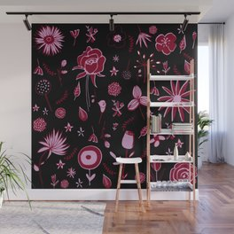 Pink and black floral with wild roses Wall Mural