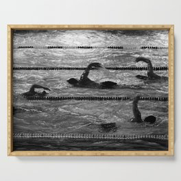 The swimmers in black and white Serving Tray