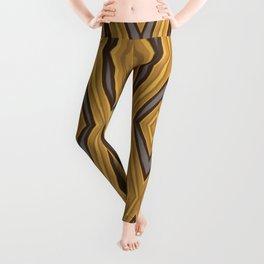 Yellow , Ochre and Brown Diamond Pattern Leggings