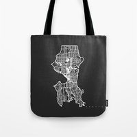 seattle Tote Bags featuring SEATTLE  by Nicksman